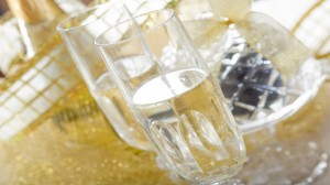 flute with champagne on golden  new year table